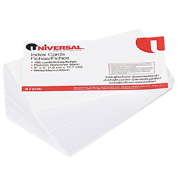 Unruled Index Cards, 3 x 5, White, 100/Pack index cards