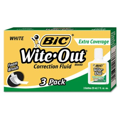 Wite-Out Extra Coverage Correction Fluid, 20 ml, 3/Pack Wite-Out