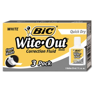 Wite-Out Quick Dry Correction Fluid, 20 ml, 3/Pack Wite-Out