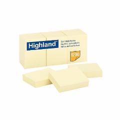 Highland Self-Stick Pads 1-12 x 2, Yellow, 100 Sheets/Pad, 12 Pads/Pack  STICKY NOTES