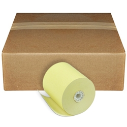 "3"" x 165 Canary 1-Ply Bond Paper Rolls"