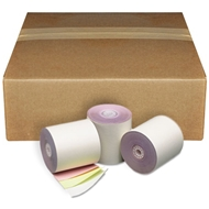 "3"" x 67' 3-Ply White/Canary/Pink Paper Rolls 50/box"