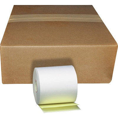 "3"" x 90' 2-Ply White/Canary Carbonless Paper Rolls 50/box"