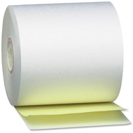 "3"" x 90' 2-Ply White/Canary Carbonless Paper Rolls 10/bx"