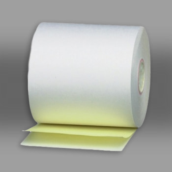 "3"" x 100' 2-Ply White/Canary Carbonless Paper Rolls 50/box"
