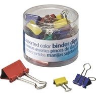 Assorted Fold-Back Binder Clips, Assorted Colors, 30/Box