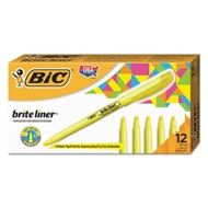 BIC Brite Liner Highlighters, Yellow, Chisel Tip, 12/Pack