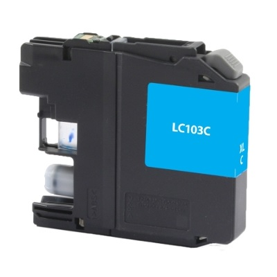Brother LC103C Cyan Inkjet Cartridge, High Yield, Compatible Brother LC103C, LC103C