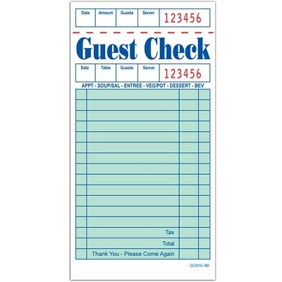 3 Pack G3616 Guest Checks Book Waitress Pad 15 Line 100 Page Booklet NEW Paper