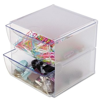 "Desk Cube with 2 Drawers, Clear Plastic, 7-1/8"" x 6"" x 6"""