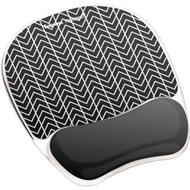 Fellowes Photo Gel Mouse Pad Wrist Rest with Microban®, Black Chevron