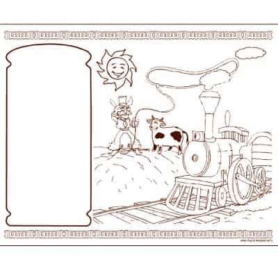 Kids Coloring Activity Sheet Placemats, Western Theme - 1000 Pack Coloring Sheets, Activity Sheets, western restaurant coloring sheets, restaurant coloring placemats