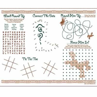 Kids Coloring Activity Sheet Placemats Western Theme