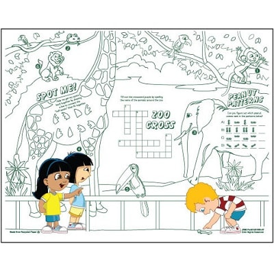 Kids Coloring Activity Sheet Placemats, Zoo Theme   #MA1KZOO ...