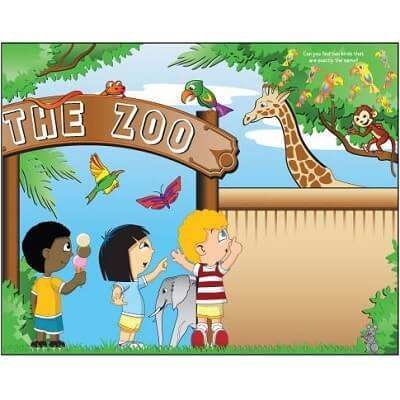 Kids Coloring Activity Sheet Placemats, Zoo Theme - 100 Pack