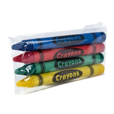 Premium Kids' Restaurant Crayons 4 Pack Wrapped, 1,000 Packs/Case